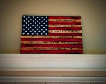 Solid Wood American Flag Burnt Hand Painted Pledge Allegiance Large Sign