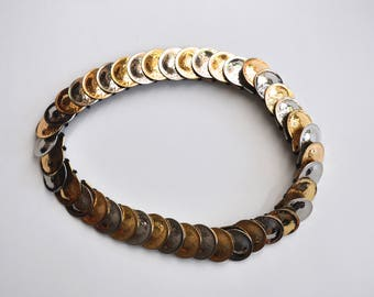 Vintage Women's Belt Gold & Silver Tone Circles with Elastic