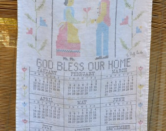 Vintage 1963 Kitchen Cloth Calendar Towel by Dolly Dembo