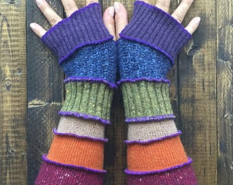 Upcycled Fingerless Gloves -Made from Recycled sweaters// Dragon Gauntlets//Arm Warmers