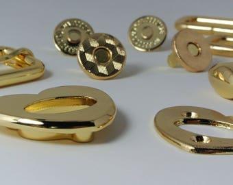 Kit de matériel, Emmeline sacs papillon toile sac à main, coeur tourner serrure, or, Nickel, curseur, boutons pressions, anneaux Rectangle
