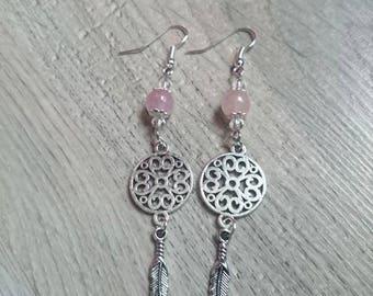 """Louise"", feather dangle earrings, Bohemian, rose quartz, Swarovski crystal earrings"