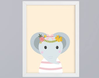 Elephant with flower vine - unframed art print
