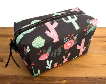 Succulent Gifts - Succulent Bag - Cactus Toiletry Bag - Succulent Toiletry Bag - Box Bag - Cactus Makeup Bag - Cactus Gifts - Cacti Bag  #25