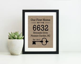 First House Sign- Burlap Print- Our First Home Sign- New Homeowner Gift- Address Sign- Housewarming Gift- Burlap Wall Art- Gift for New Home