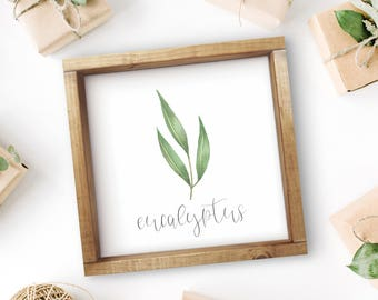 "Mix + Match Kitchen Herb Print    8""x8"" Eucalyptus Kitchen Herb Wall Art    Kitchen Herb Decor    Herb Instant Download (DIGITAL PRODUCT)"