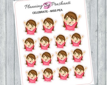 Celebrate Excited Cheering Happy Girls Planner Stickers - For the Erin Condren Life Planner and Happy Planner