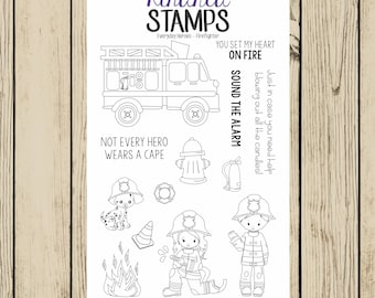 Firefighter Rubber Stamp Set, Dalmation, Fire fighter, firetruck, Sound the Alarm, Clear Rubber Stamp, 4x6 Stamp Set