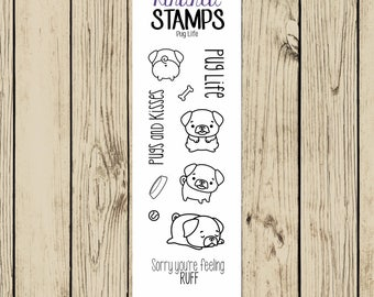 Pug Rubber Stamp Set, Pug Life, Dog Stamp, Pugs and Kisses, Puppy Stamp, Dog Butt