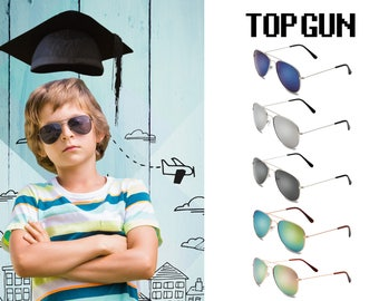 Kids Children Pilot Aviator UV Protection Sunglasses, Retro Vintage Stainless Metal Frame