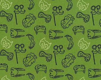 Let's Pretend, Play masks, green, by, Sarah Jane, for, Micheal Miller Fabrics, OOP, Fat Quarter, half yard