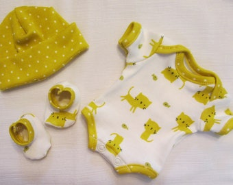 "9-10"" Boy or Girl Citron Kitties ~ Designer Organic Knit ~ Bodysuit Set for Baby Doll OOAK Sculpt Reborn Micro Mini Clothes ~ Shabbey"