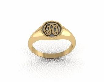 Monogram ring. Sterling silver ring. Silver monogram ring. Signet silver ring. Personalized signet ring. monogram woman ring