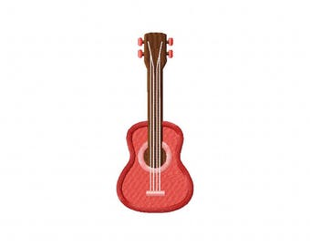 Pink ukelele guitar machine embroidery design