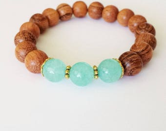 Tropical Blue and Wood Bead Bracelet