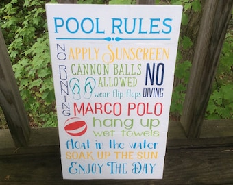 Pool Rules pallet sign, swimming pool sign, Marco Polo sign, lanai decor, cannon balls sign, cottage decor,