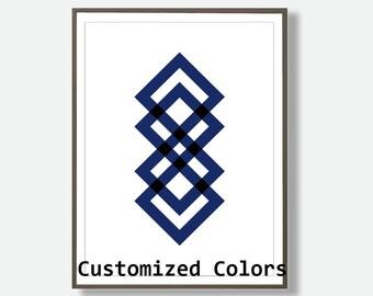 Geometric Prints, Abstract Print, Printable Diamond, Navy Print, Geometric Art, Geometric Diamond Print, Navy Blue Wall Art, Modern Prints