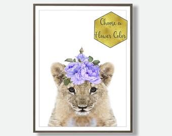 Lion Print, Printable Safari, Safari Nursery Decor, Lion Art Print, Lion Wall Art, Lion Poster, Modern Nursery Print, Nursery Print Trend,