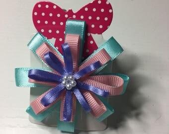 Pink ,blue and lilac circular ribbon hair clip