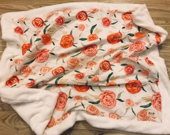 Personalized Peach and White Floral Baby Minky Blanket- watercolor flowers, roses, coral, baby blanket, crib bedding, stroller blanket