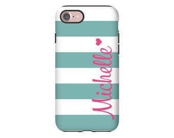Monogram iPhone 7 case/7 Plus, Galaxy S8 case, striped iPhone case, custom iPhone case, Galaxy A5 case, customize your colors