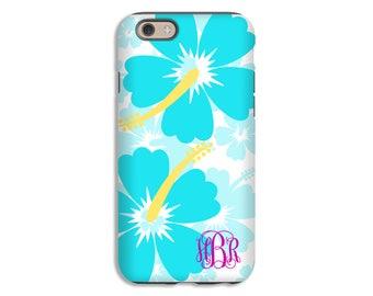 Monogram iPhone 7 case, hibiscus flowers iPhone case, hawaiian flowers iPhone 6s Plus case/6 Plus case, iPhone 6/6s case, 3D iPhone case