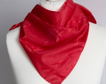 """vintage Square scarf, polyester scarf, fabric women scarf shawl 66cm / 26"""" geometric scarf, checkered scarf red"""
