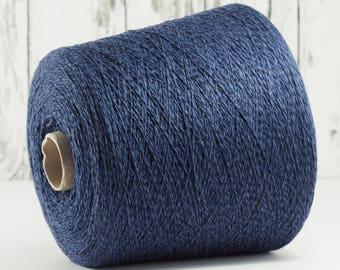 appr. 790g Merino/cashmere yarn on cone, blue/dark blue, merino/cashmere knitted yarn on cone/art. 62