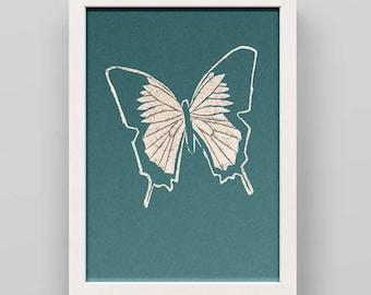 Linocut print Butterfly