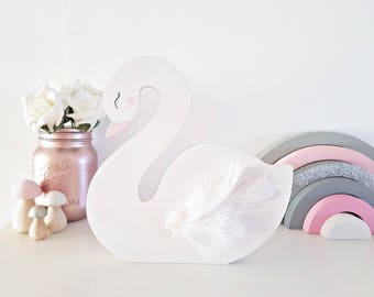 Swan shelfie, nursery decor, girls bedroom, pastel nursery decor, sleepy eye, wooden nursery decor