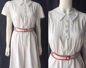 1940s white corded cotton dress