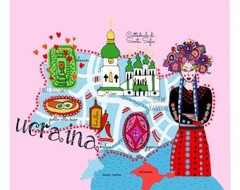 Mappa dell'Ucraina, mappe, mappe illustrate, illustrazione di viaggio, taccuino di viaggio, illustrazione folk, folclore, arte folk