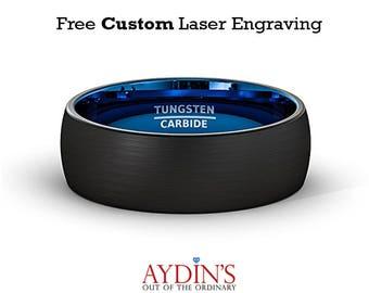 Tungsten Wedding Band - Mens Wedding Band - Black Tungsten Brushed - Blue Tungsten - Dome Ring - Tungsten Wedding Ring - Man Tungsten Ring