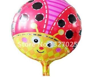 18 inch ladybug round helium Balloons aluminum foil balloon for birthday party decoration ladybug kids toys bee globos helio