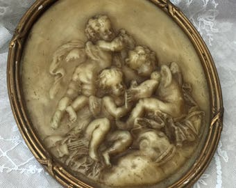Exquisite Antique French WAX FRAME with CHERUBS and Doves - Wonderful patina Shabby chic Home Decor Sweet Valentine's Day Gift Idea