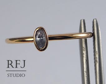 Rose Gold Plated Oval Lavender CZ Diamond Silver Ring, Oval Cut 14K Rose Gold Plated Ring, Oval Lavender Cubic Zirconia Stacking Thin Ring