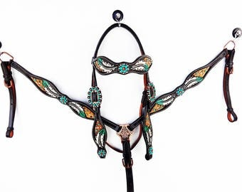 Turquoise Feather Tooled Hand Painted Barrel Racer Leather Headstall Western Horse Trail Bridle Breast Collar Plate Set