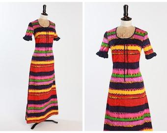 Vintage 1970s 70s Figura Sun Party Striped Maxi Dress