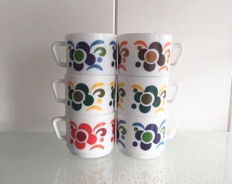 Arcopal koffiekopjes vintage coffee cups retro 6x koffie kopjes Lotus Knorr floral design
