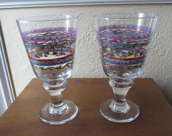 Set of 4 Sue Zipkin SWEET SHOPPE Glasses Goblets RARE