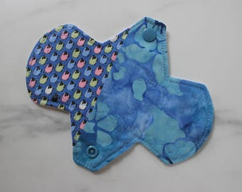 "6.75"" liner, reusable cloth pantyliner - tiny sheep / floating flowers batik patchwork"