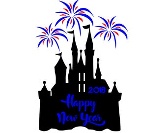 SVG DXF File for Happy New Year at Disney Castle