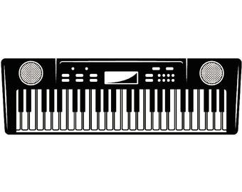 Electronic Keyboard #1 Musical Instrument Synthesizer Piano Music .SVG .EPS Instant Digital Clipart Vector Cricut Cutting Download Printable