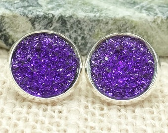 Purple Druzy Earrings - Drusy - Stud Earrings - Bridesmaid Gift - Jewelry - Maid of Honor - Mother of the Bride - Earrings - Gift for Woman