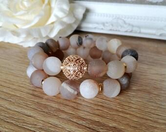 SET  Frosted Agate Bracelet, Gemstones  Bracelet, Birthday Gift, Black bracelet, Boho jewelry