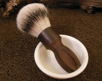 "Vintage handmade Shaving Brush ""TEAK wood"" ABS Handle 24mm HMW Silvertip Badger Knot"