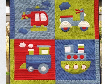 Nellies Needles Chug and Tug Quilt pattern , boys quilt pattern, baby pattern