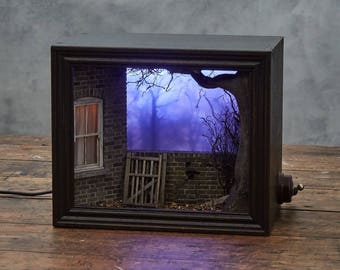 Beyond the garden. Original handmade shadow box.