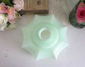 Vintage French Light Green Opaline Glass Ceiling Lampshade #1