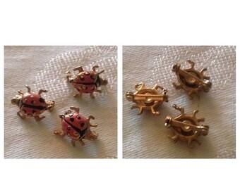 On Sale Vintage Set of 3 LadyBug Scatter Pins